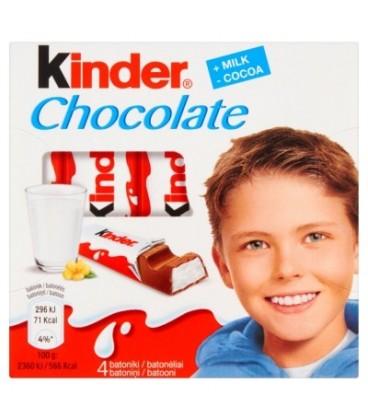 Kinder Chocolate Batoniki z mlecznej czekolady z nadzieniem mlecznym 50 g (4 batoniki)