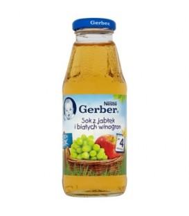 Gerber 100% Sok z jabłek i białych winogron po 4 miesiącu 300 ml