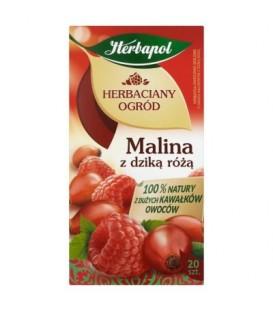 Herbapol Herbaciany Ogród Malina z dzika różą Herbatka owocowo-ziołowa 60 g (20 saszetek)