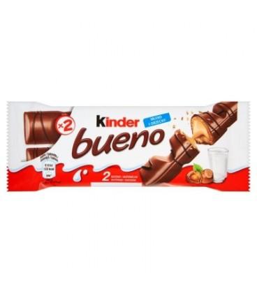 Kinder Bueno Baton z orzechowym nadzieniem w kruchym waflu oblanym mleczną czekoladą 43 g (2 batony)