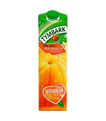 Tymbark Pomarańcza z miąższem sok 100% 1 l
