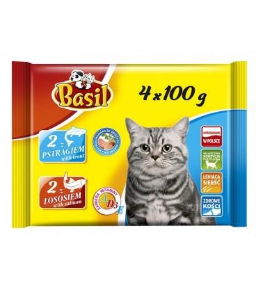 Basil saszetka dla kota pstrąg,łosoś 4x100g