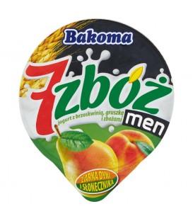 Bakoma 7 zbóż men Jogurt z brzoskwinią gruszką i zbożami 300 g