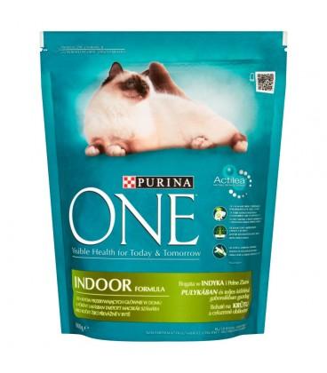 PURINA ONE Indoor Formula Pełnoporcjowa karma dla dorosłych kotów bogata w indyka i ziarna 800 g