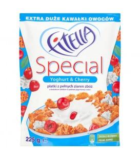 Fitella Special Płatki z pełnych ziaren zbóż z dodatkiem płatków w polewie jogurtowej i wiśni 225 g