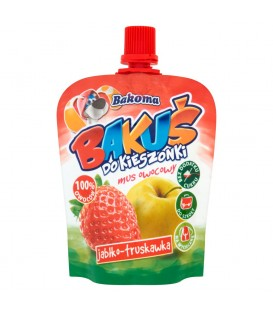 Bakoma Bakuś do kieszonki Mus owocowy jabłko-truskawka 90 g