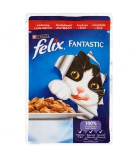 Felix Fantastic z wołowiną w galaretce Pełnoporcjowa karma dla kotów 100 g