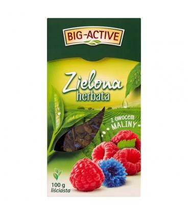 Big-Active Zielona herbata liściasta z owocem maliny 100 g