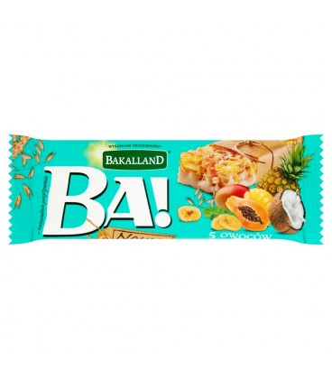 Bakalland Ba! 5 owoców tropikalnych Baton zbożowy 40 g