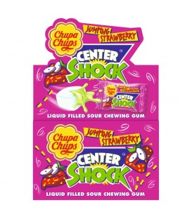 Chupa Chups Center Shock Jumping Strawberry Guma do żucia o smaku truskawkowym 100 x 4 g