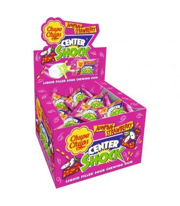 Chupa Chups Center Shock Jumping Strawberry Guma do żucia o smaku truskawkowym 100 x 4 g