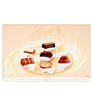 Lindt Creation Dessert Czekoladki z czekolady ciemnej mlecznej i białej 170 g
