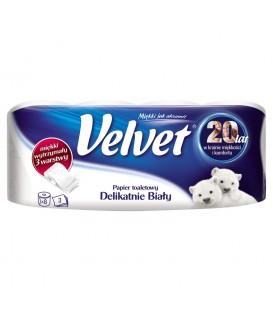 Velvet Delikatnie Biały Papier toaletowy 8 rolek