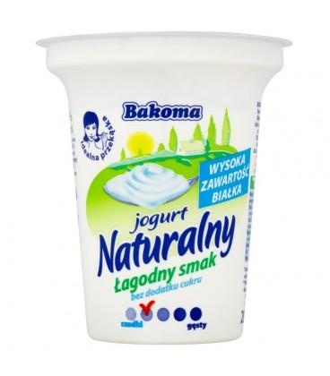 Bakoma Jogurt naturalny łagodny smak bez dodatku cukru 290 g