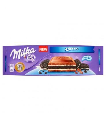 Milka Oreo Herbatniki kakaowe i kremowe nadzienie o smaku waniliowym w czekoladzie mlecznej 300 g