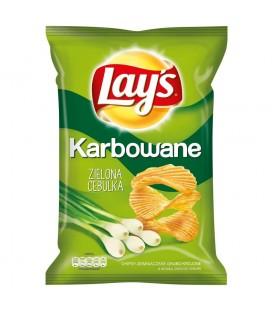 Lay's Karbowane o smaku zielona cebulka Chipsy ziemniaczane 140 g