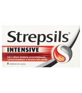 Strepsils Intensive Lek o silnym działaniu przeciwbólowym i przeciwzapalnym Tabletki 8 sztuk