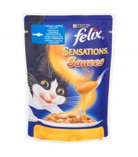 Felix Sensations Sauces z rybą w sosie z pomidorami Pełnoporcjowa karma dla dorosłych kotów 100 g