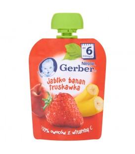 Gerber Deserek Jabłko banan truskawka po 6 miesiącu 90 g
