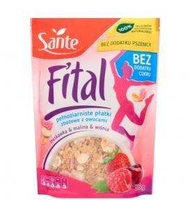 Sante Fital Pełnoziarniste płatki zbożowe z owocami truskawka & malina & wiśnia 225 g