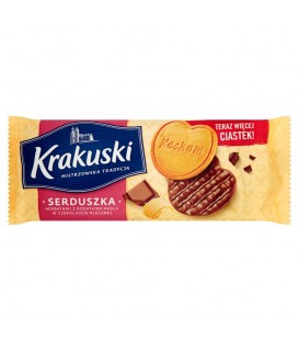 Krakuski Serduszka Herbatniki z dodatkiem masła w czekoladzie mlecznej 171 g