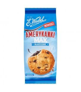 E. Wedel Amerykanki Max klasyczne Kruche ciastka z kawałkami czekolady i kremem czekoladowym 170 g