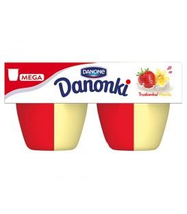 Danone Danonki Pół na Pół truskawka wanilia Twarożek 360 g (4 sztuki)