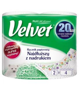 Velvet Najdłuższy z nadrukiem Ręcznik papierowy 2 rolki