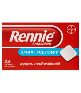 Rennie Antacidum Tabletki do ssania smak miętowy 24 tabletki