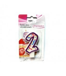 Świeczka urodzinowa imprezka cyfra 2-5