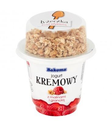 Bakoma jogurt kremowy z malinami i granolą230g