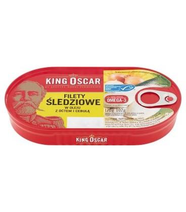 King Oscar filet śledź w oleju z octem i ceb.170g
