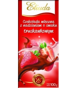 Etiuda Czekolada mleczna o smaku truskawkowym 100g